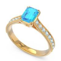 Pave Milgrain Emerald Cut Druna Swiss Blue Topaz Ring with Aquamarine in 14k Yellow Gold