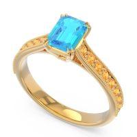 Pave Milgrain Emerald Cut Druna Swiss Blue Topaz Ring with Citrine in 18k Yellow Gold