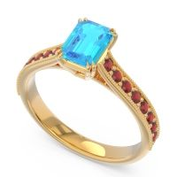 Pave Milgrain Emerald Cut Druna Swiss Blue Topaz Ring with Garnet in 18k Yellow Gold