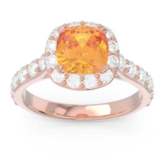Halo Pave Cushion Svaja Citrine Ring with Diamond in 14K Rose Gold