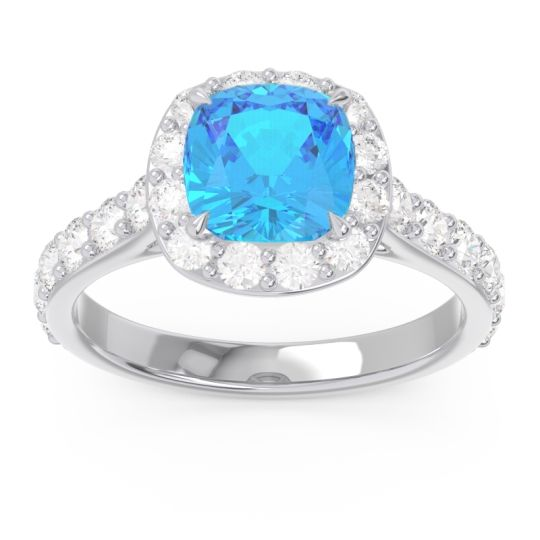 Halo Pave Cushion Svaja Swiss Blue Topaz Ring with Diamond in 14k White Gold