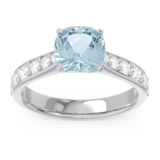 Pave Cushion Kesari Aquamarine Ring with Diamond in 14k White Gold