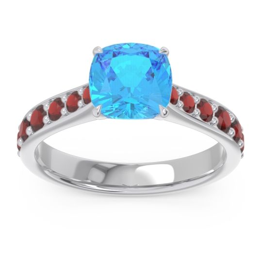 Swiss Blue Topaz Pave Cushion Kesari Ring with Garnet in Palladium