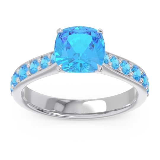 Swiss Blue Topaz Pave Cushion Kesari Ring in Palladium