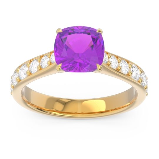 Pave Cushion Kesari Amethyst Ring with Diamond in 14k Yellow Gold