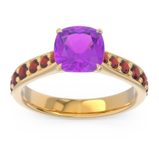 Amethyst Pave Cushion Kesari Ring with Garnet in 14k Yellow Gold
