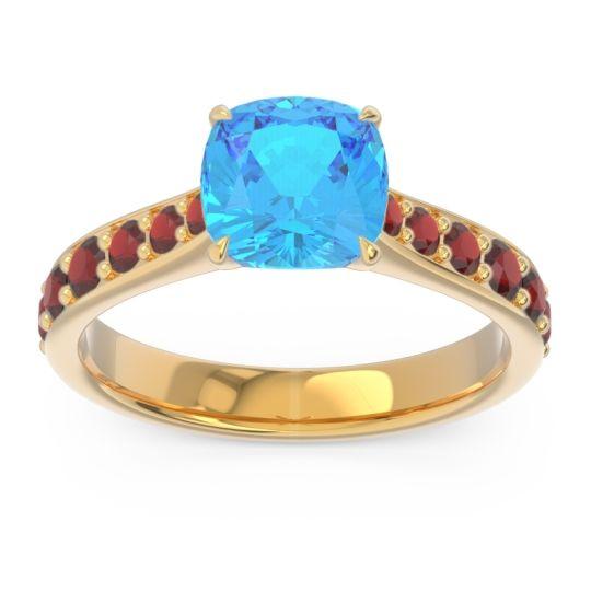 Swiss Blue Topaz Pave Cushion Kesari Ring with Garnet in 18k Yellow Gold