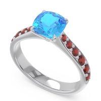 Swiss Blue Topaz Pave Cushion Kesari Ring with Garnet in 14k White Gold