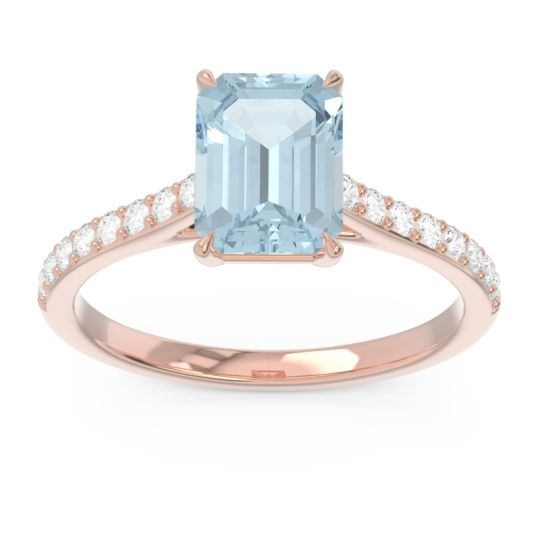 Pave Emerald Cut Vedara Aquamarine Ring with Diamond in 14K Rose Gold