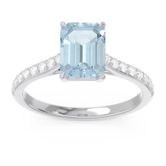 Aquamarine Pave Emerald Cut Vedara Ring with Diamond in 14k White Gold