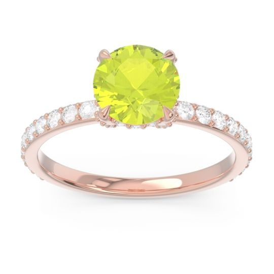 Peridot Pave Cathedral Mayurari Ring with Diamond in 14K Rose Gold