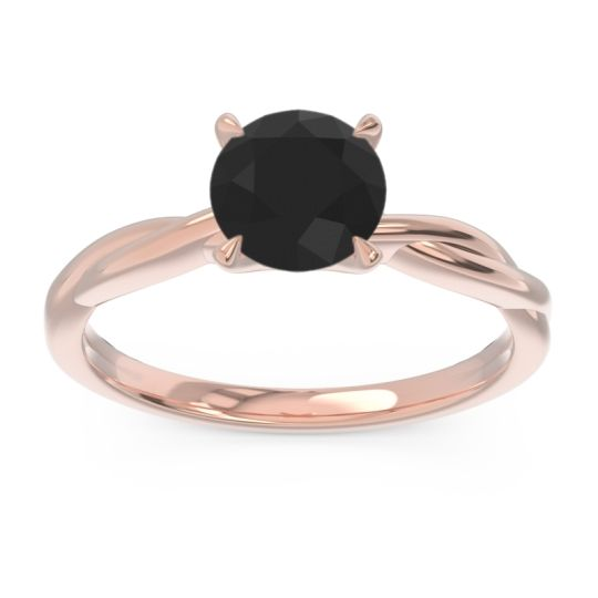 Solitaire Pathika Black Onyx Ring in 14K Rose Gold