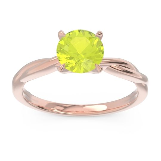Peridot Solitaire Pathika Ring in 14K Rose Gold