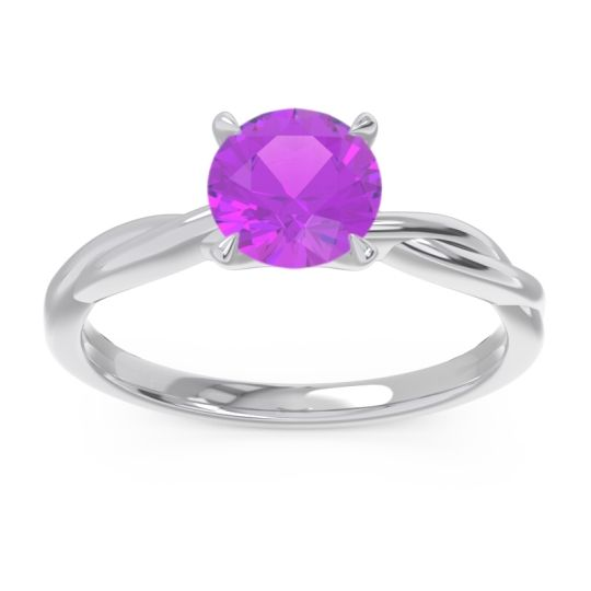 Amethyst Solitaire Pathika Ring in 18k White Gold