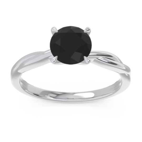 Black Onyx Solitaire Pathika Ring in 18k White Gold