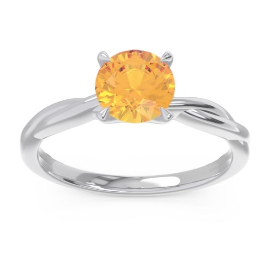 Citrine Solitaire Pathika Ring in 14k White Gold