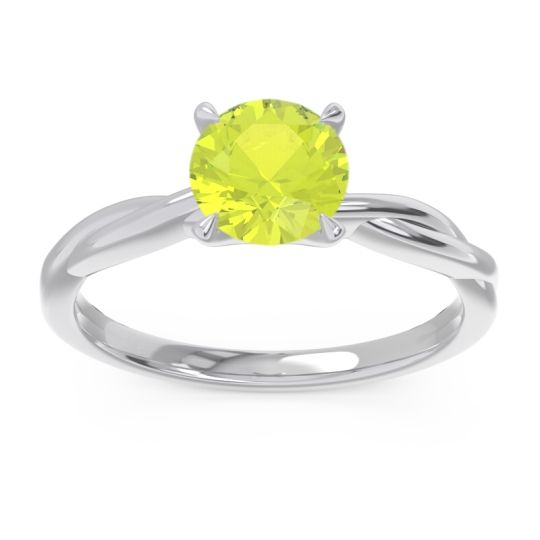 Peridot Solitaire Pathika Ring in 18k White Gold