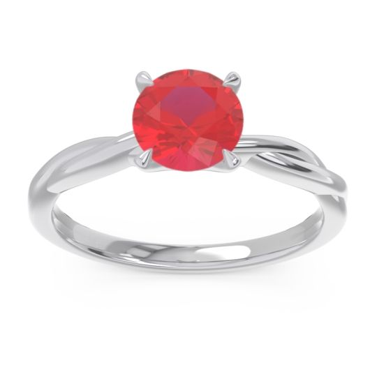 Ruby Solitaire Pathika Ring in 18k White Gold