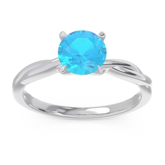 Swiss Blue Topaz Solitaire Pathika Ring in Platinum