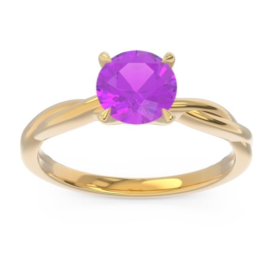 Amethyst Solitaire Pathika Ring in 18k Yellow Gold