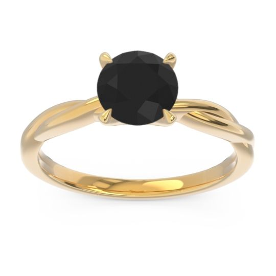Solitaire Pathika Black Onyx Ring in 14k Yellow Gold