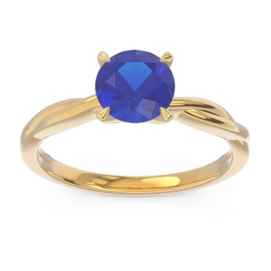 Blue Sapphire Solitaire Pathika Ring in 18k Yellow Gold