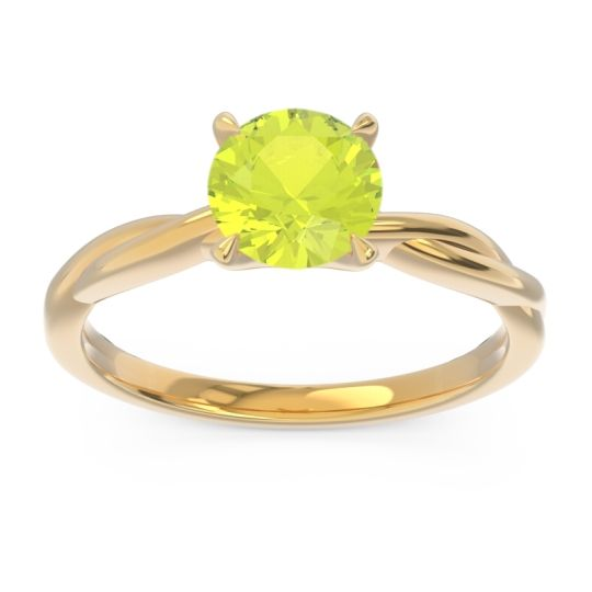 Peridot Solitaire Pathika Ring in 18k Yellow Gold