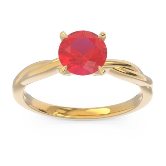 Ruby Solitaire Pathika Ring in 18k Yellow Gold