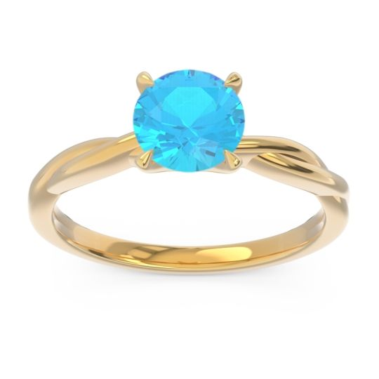 Swiss Blue Topaz Solitaire Pathika Ring in 18k Yellow Gold