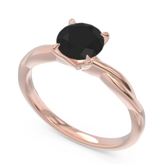Black Onyx Solitaire Pathika Ring in 14K Rose Gold