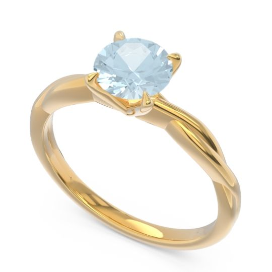 Aquamarine Solitaire Pathika Ring in 18k Yellow Gold