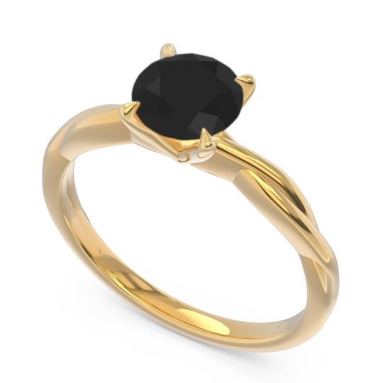 Black Onyx Solitaire Pathika Ring in 18k Yellow Gold
