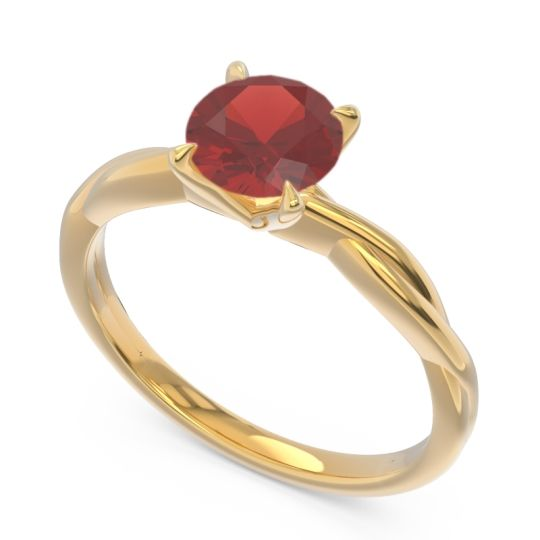 Garnet Solitaire Pathika Ring in 18k Yellow Gold