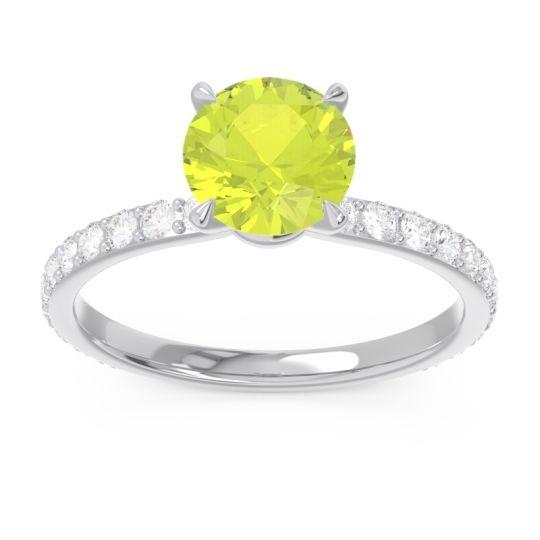 Pave Garuda Peridot Ring with Diamond in 14k White Gold