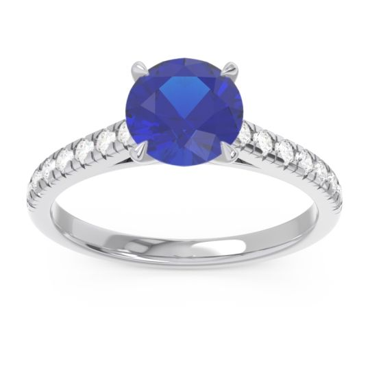 Blue Sapphire Pave Ajagara Ring with Diamond in 14k White Gold