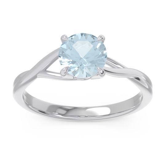 Aquamarine Solitaire Jamayah Ring in Platinum