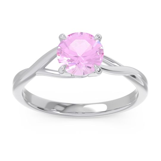 Pink Tourmaline Solitaire Jamayah Ring in Palladium