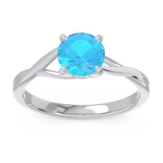 Swiss Blue Topaz Solitaire Jamayah Ring in Palladium