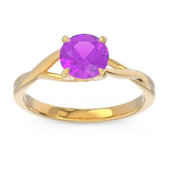 Amethyst Solitaire Jamayah Ring in 14k Yellow Gold