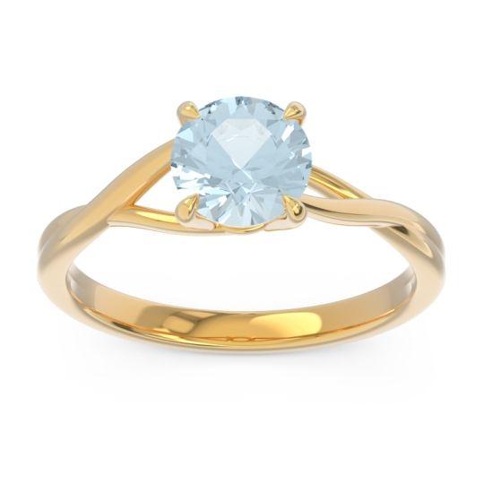 Aquamarine Solitaire Jamayah Ring in 14k Yellow Gold