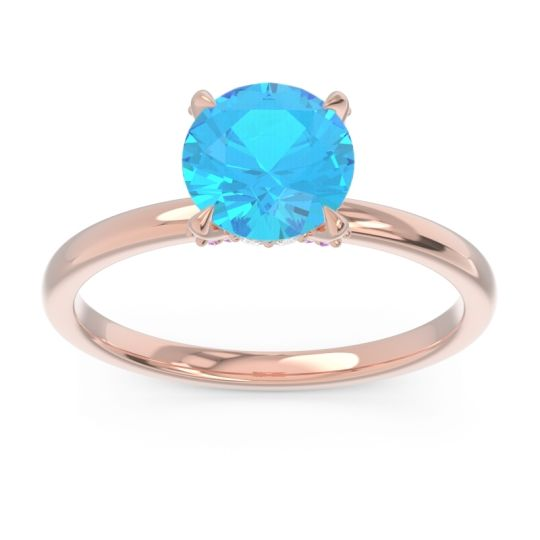 Swiss Blue Topaz Solitaire Zagku Ring with Diamond and Pink Tourmaline in 14K Rose Gold