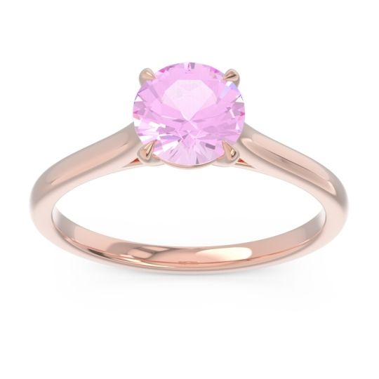 Pink Tourmaline Solitaire Satina Ring in 14K Rose Gold