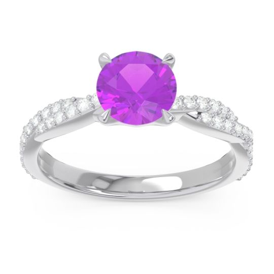 Amethyst Pave Ikara Ring with Diamond in 14k White Gold
