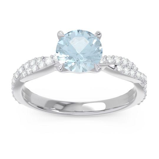 Aquamarine Pave Ikara Ring with Diamond in 14k White Gold