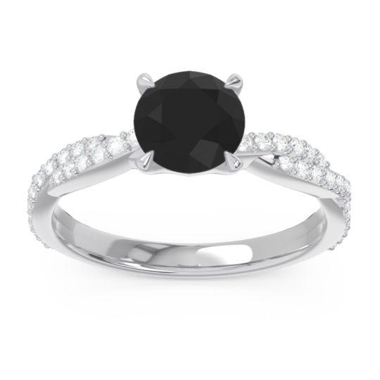 Black Onyx Pave Ikara Ring with Diamond in 14k White Gold