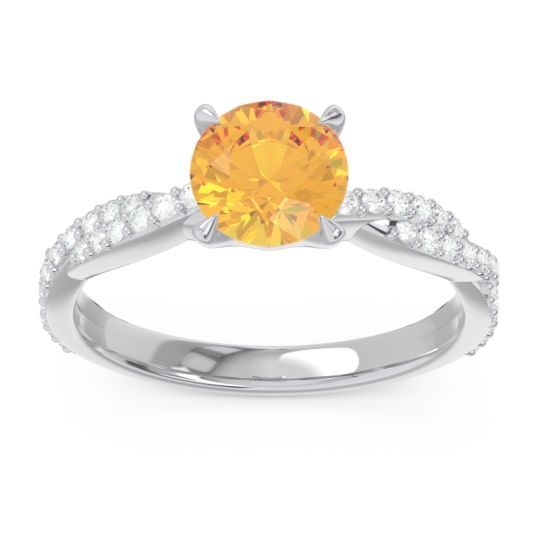 Citrine Pave Ikara Ring with Diamond in 14k White Gold