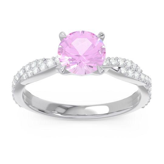 Pink Tourmaline Pave Ikara Ring with Diamond in 14k White Gold