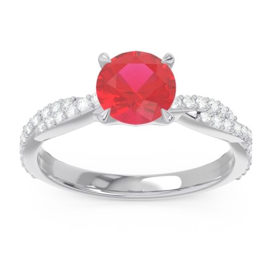 Ruby Pave Ikara Ring with Diamond in 14k White Gold