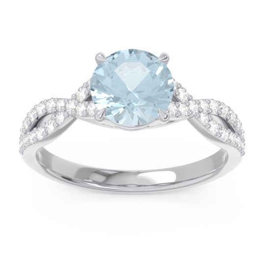 Aquamarine Pave Ivarna Ring with Diamond in 14k White Gold