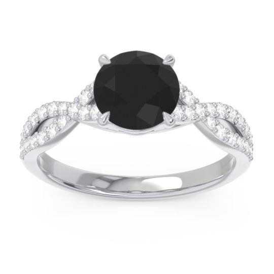 Black Onyx Pave Ivarna Ring with Diamond in 14k White Gold